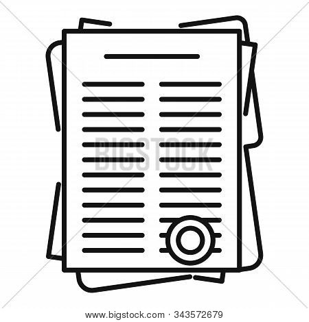 Leasing Papers Icon. Outline Leasing Papers Vector Icon For Web Design Isolated On White Background