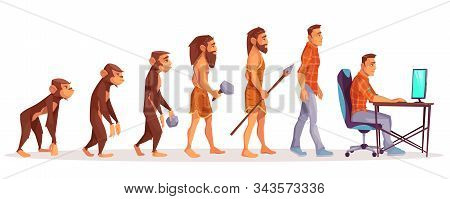 Human Evolution Of Monkey To Modern Man Programmer, Computer User Isolated On White Background. Male