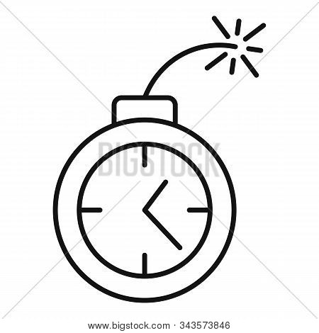 Time Remaining Bomb Icon. Outline Time Remaining Bomb Vector Icon For Web Design Isolated On White B