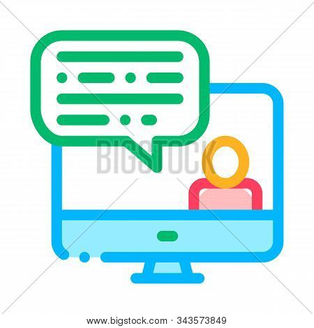 Computer Screen And Avatar Internet Discuss Vector Icon Thin Line. Business And Recruitment Candidat