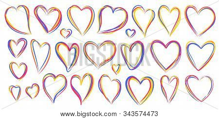 Hearts Multicolour Icons, Lgbt Rainbow Lesbian, Gay, Bisexual Love Sign. Valentines Day, 14 February