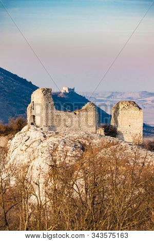 Sirotci hradek ruins and Devicky ruins on Palava region, South Moravia, Czech Republic
