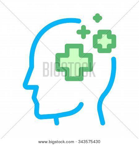 Medicine Crosses Man Silhouette Headache Vector Icon Thin Line. Tension And Cluster Headache, Migrai