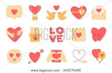 Love Flat Cartoon Icon Set. Valentines Day Romantic Symbols. Couple Hearts, Hugs, Kiss, Candy Chocol