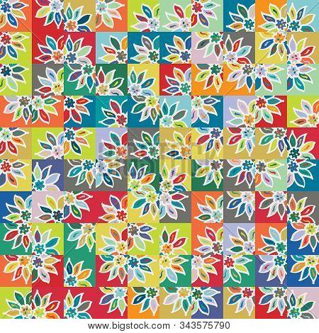 Funky Stylized Rainbow Geo Floral Micro Pattern