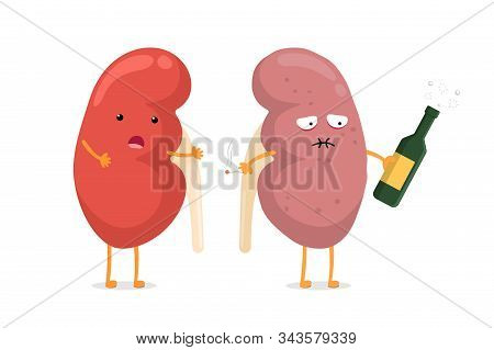 Cute Healthy And Sad Suffering Sick Kidney Character With Alcohol And Cigarette. Human Anatomy Genit