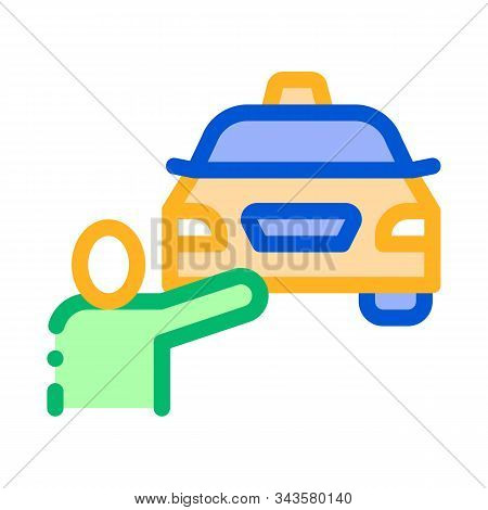 Human Hitch-hiking Online Taxi Icon Vector Thin Line. Contour Illustration