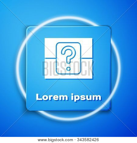 White Mystery Box Or Random Loot Box For Games Icon Isolated On Blue Background. Question Box. Blue
