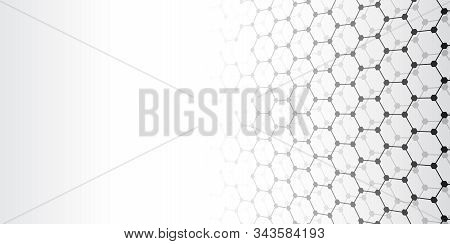 Perspective Grid Hexagonal Surface. Abstract Grey Background With Black Shapes. Vector Illustration.