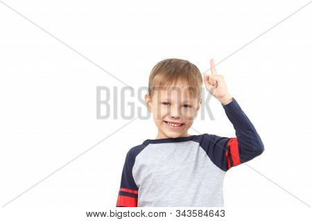 Little Child Boy Came Up With A Great Idea Finger Pointing Up A Great Idea Isolated On White Backgro