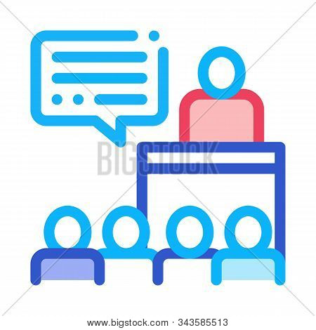 Candidate Speech Icon Vector. Outline Candidate Speech Sign. Isolated Contour Symbol Illustration