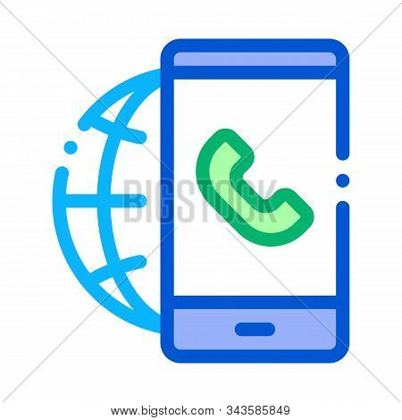Voip Smartphone Internet Connection Icon Vector. Outline Voip Smartphone Internet Connection Sign. I