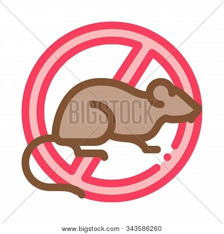 Sign Against Rat Icon Vector. Outline Sign Against Rat Sign. Isolated Contour Symbol Illustration