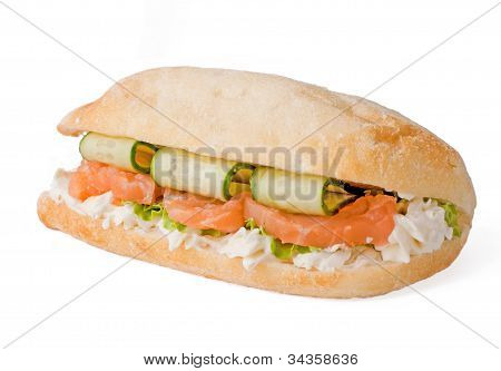 Sandwich With Cucumber And Salmon