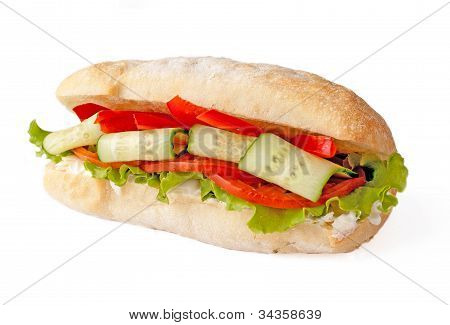 Sandwich With Cucumber And Vegetables
