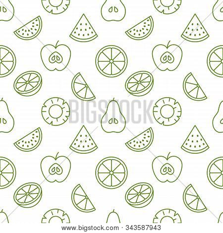 Fruit Background, Abstract Food Seamless Pattern. Fresh Fruits Wallpaper With Apple, Banana, Waterme