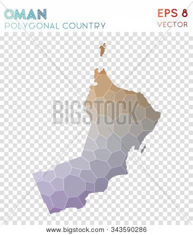 Oman Polygonal, Mosaic Style Country Map. Wonderful Low Poly Style, Modern Design For Infographics O
