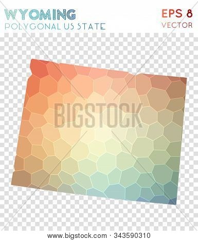 Wyoming Polygonal, Mosaic Style Us State Map. Cute Low Poly Style, Modern Design For Infographics Or