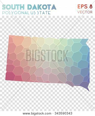 South Dakota Polygonal, Mosaic Style Us State Map. Brilliant Low Poly Style, Modern Design For Infog