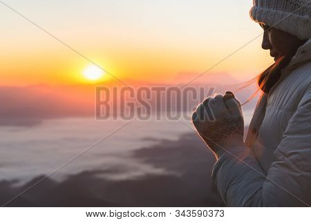 Young Woman Praying With  Hand,  Prayer Concept For Faith, Spirituality And Religion