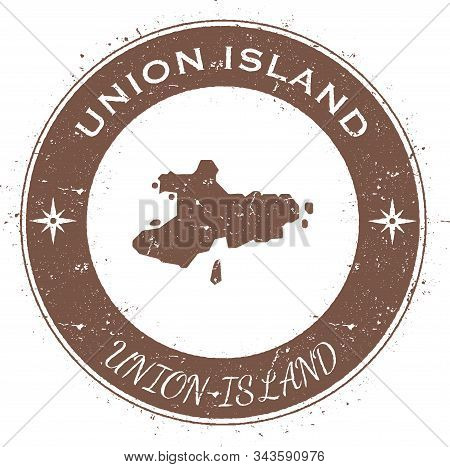 Union Island Circular Patriotic Badge. Grunge Rubber Stamp With Island Flag, Map And Name Written Al