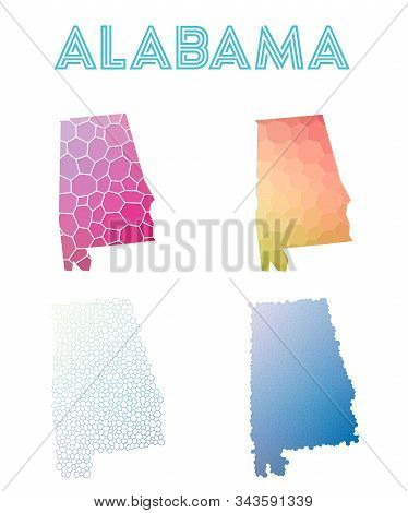 Alabama Geometric Polygonal, Mosaic Style Us State Maps Collection. Modern Design For Your Infograph