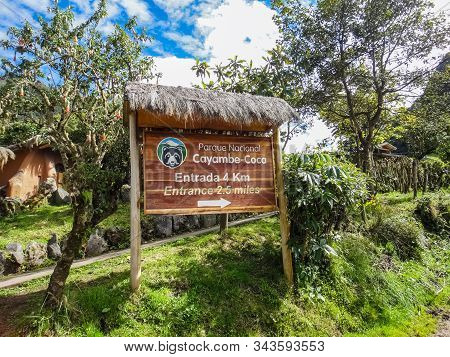 Cayambe, Ecuador - July 26, 2014: Informative Sign Of Distance From Cayambe National Park Cayambe-co