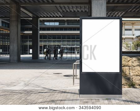 Mock Up Board Sign Stand Media Advertisement Building Outdoor People Background