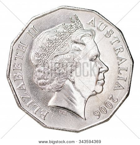 Fifty Australian Cents Coin With A Portrait Of Queen Elizabeth Ii Of Great Britain Portrait Isolated