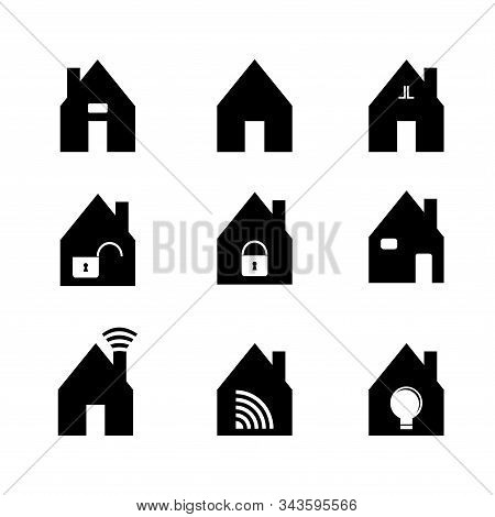 Black Flat Design For Home Icon. There Are None Different Design That Can Be Use For Anything. Basic