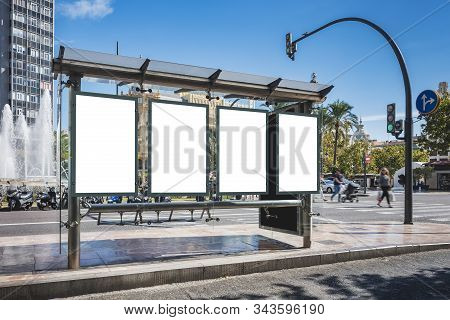 Mock Up Poster Template At Bus Station Media Advertising Outdoor Sign People Walking In Street City