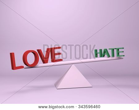 Love Or Hate Concept. Balance Between Love And Hate On A Pink Background With Copy Space. 3d Renderi