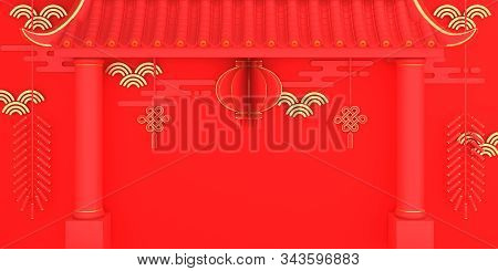 Happy Chinese New Year Background 2020, Year Of The Rat, Red And Gold Lantern And Knot Firecracker P