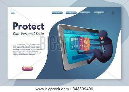 Protect Your Personal Data Landing Page Template. Cyber Crime, Law Break Flat Vector Illustration. B