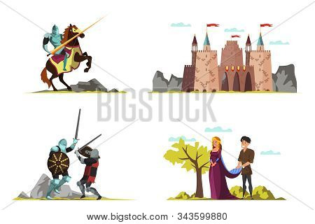 Middle Ages Vector Illustrations Set. Medieval Castle Drawing. Princess, Prince, Armed Knights, Warr