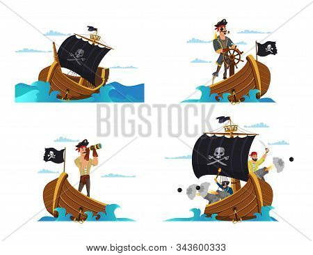 Pirate Ship Vector Illustrations Set. Pirates, Buccaneers, Sailors Cartoon Characters. Sail Boat Wit