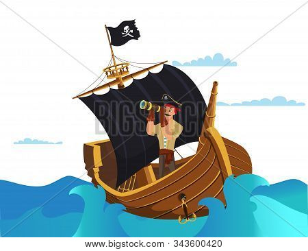 Pirate Looking In Spyglass Flat Vector Illustration. Buccaneer, Sailor Cartoon Character. Medieval S