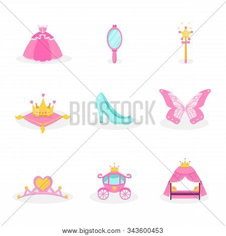 Princess Items Vector Illustrations Set. Pink Fairy Tales Icons Collection. Royal Girl Accessory Sym