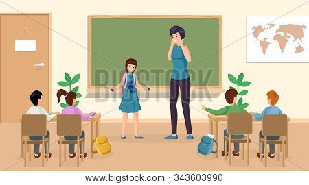 Students At Classroom Vector Illustration. Confused Girl With Ink Stains On Clothes At Class Teacher