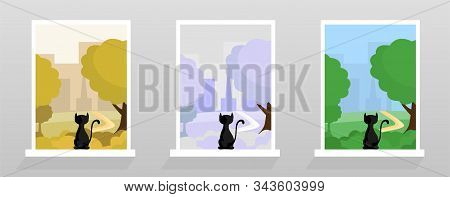 Cat At Window Sill Vector Illustrations Set. Colorful Cityscape, Autumn, Winter And Spring Seasons O