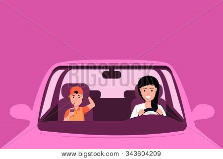 Woman Driving Car Vector Illustration. Mother And Son Sitting At Front Seats Of Automobile, Family R