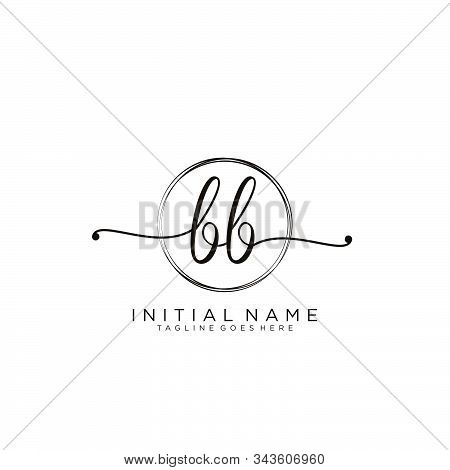 Bb Initial Handwriting Logo With Circle Template Vector.