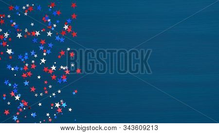Confetti Stars In American Flag Colors On Blue Background. Usa Independence Day, Presidents Day, Ame