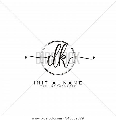Dk Initial Handwriting Logo With Circle Template Vector.