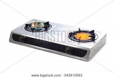 Colorful Flame Burning Of Gas Stove Burners Isolated On White Background