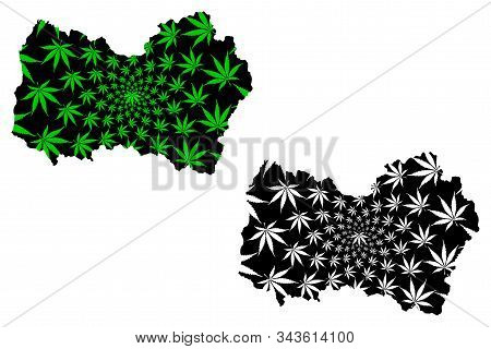Libertador General Bernardo O Higgins Region (republic Of Chile) Map Is Designed Cannabis Leaf Green