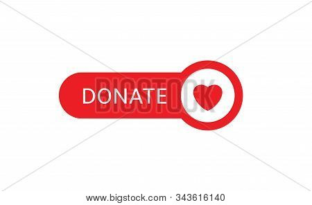 Donate Button Icon. Red Button With Red Heart For Your Website, Philanthropy, Charity And Volunteeri