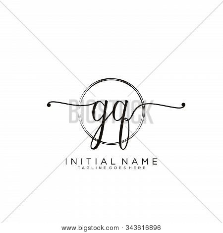 Gq Initial Handwriting Logo With Circle Template Vector.