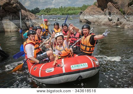 Sun Kosi Near Harkapur / Nepal - August 30, 2019: Whitewater Rafting On The Dudh Koshi In Nepal. Raf