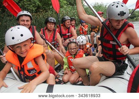 Chiang Mai, Thailand - February 12 26 2018: Young Person Rafting On The River, Extreme And Fun Sport